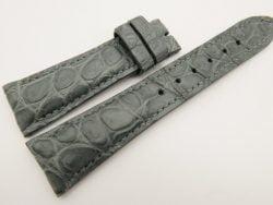 23mm/18mm Gray Genuine CROCODILE Skin Leather Watch Strap #WT3355