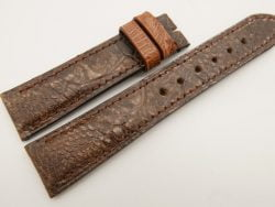 20mm/18mm Brown Genuine OSTRICH Skin Leather Watch Strap Stonewash #WT3362