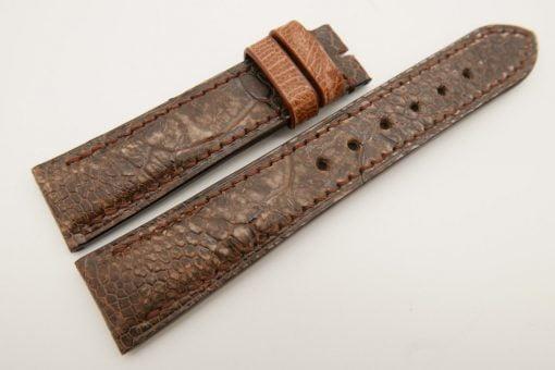 20mm/18mm Brown Genuine OSTRICH Skin Leather Watch Strap Stonewash #WT3362