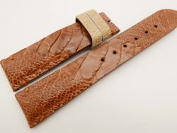 20mm/18mm Light Brown Genuine OSTRICH Skin Leather Watch Strap #WT3364