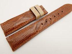 20mm/18mm Light Brown Genuine OSTRICH Skin Leather Watch Strap #WT3365