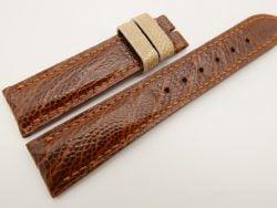 20mm/18mm Red Brown Genuine OSTRICH Skin Leather Watch Strap #WT3366