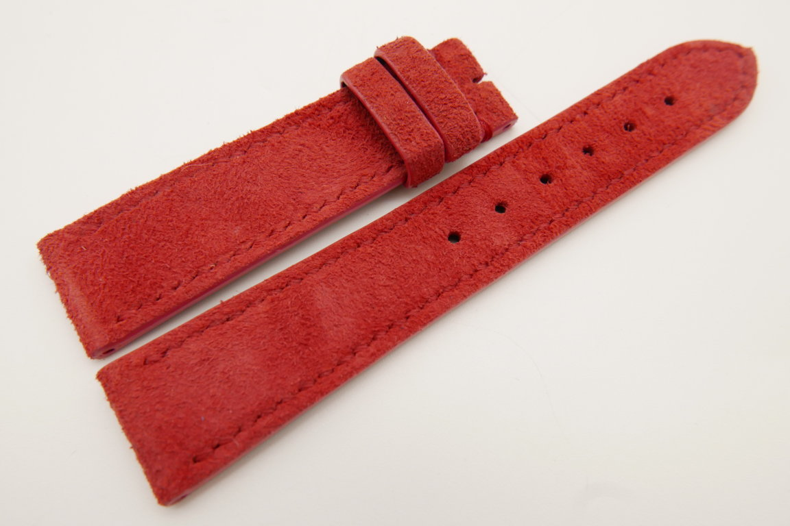 20mm/18mm Red Genuine Suede Leather Watch strap #WT3382