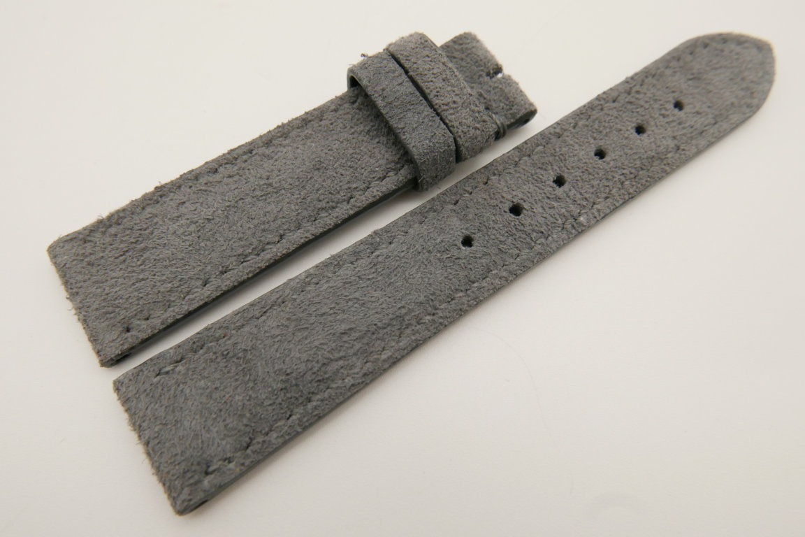 20mm/18mm Gray Genuine Suede Leather Watch strap #WT3383