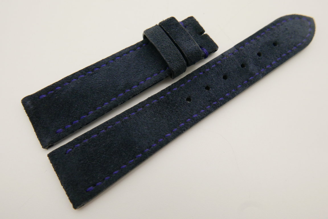 20mm/18mm Dark Blue Genuine Suede Leather Watch strap #WT3384