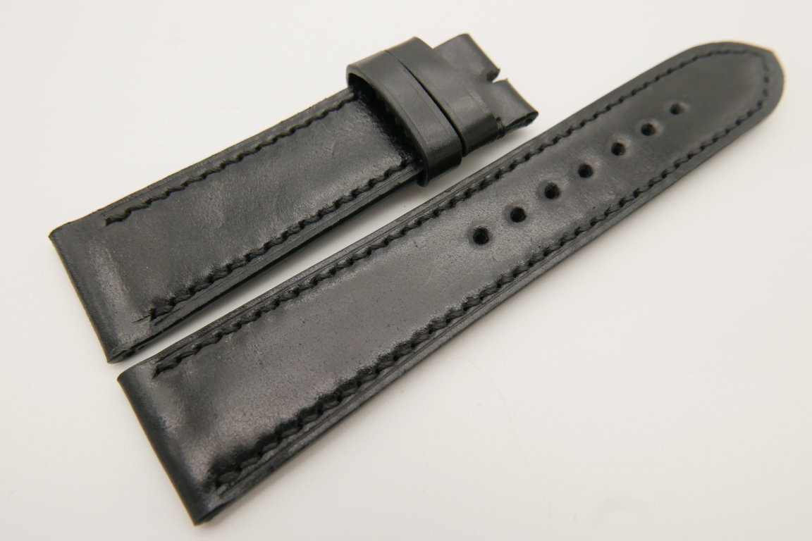 22mm/20mm Black Genuine Shell Cordovan Leather Watch Strap #WT3386