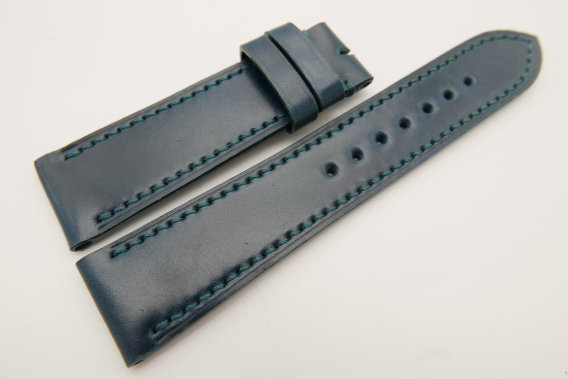 22mm/20mm Blue Genuine Shell Cordovan Leather Watch Strap #WT3388
