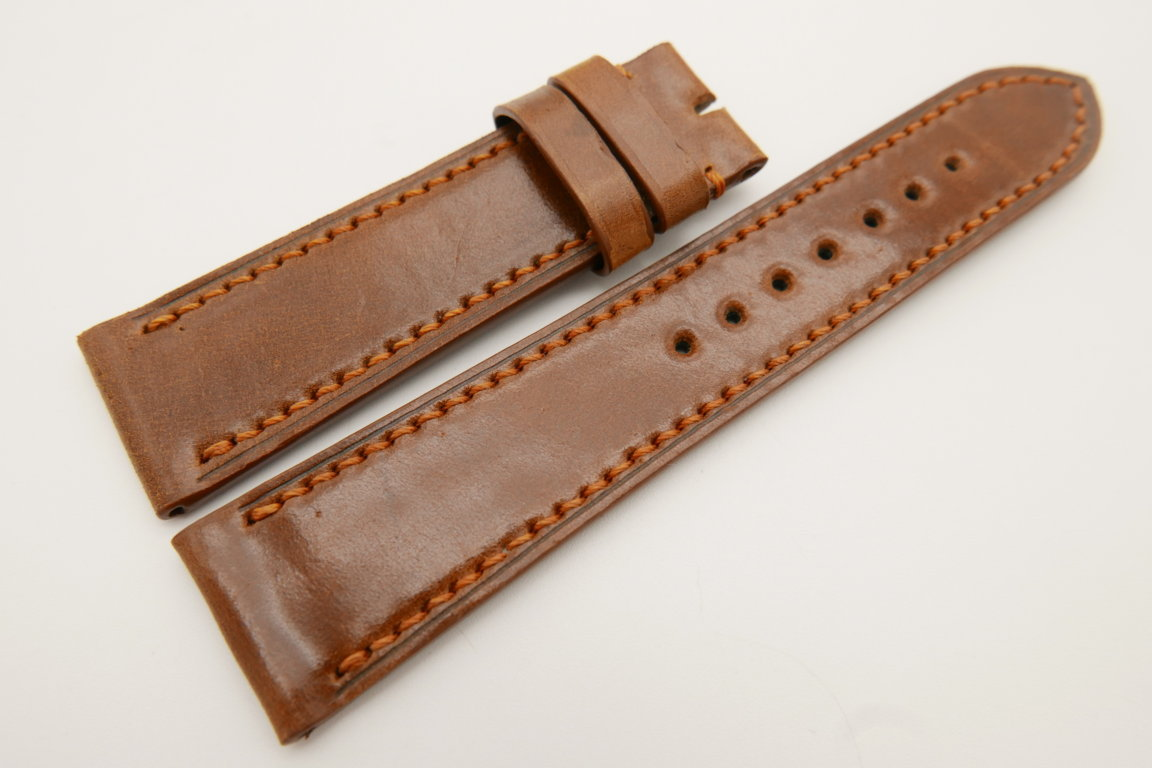 22mm/20mm Brown Genuine Shell Cordovan Leather Watch Strap #WT3389