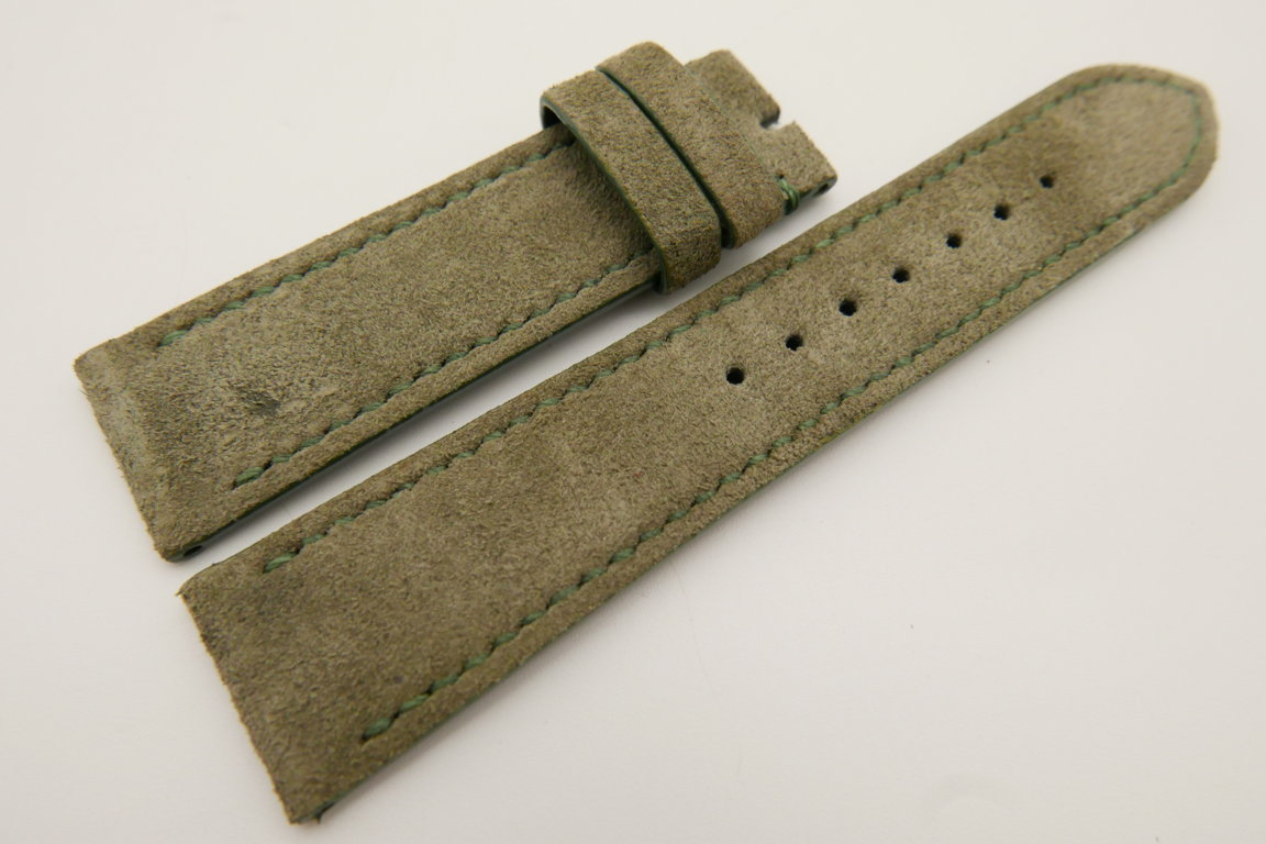 22mm/20mm Moss Green Genuine Suede Leather Watch strap #WT3391