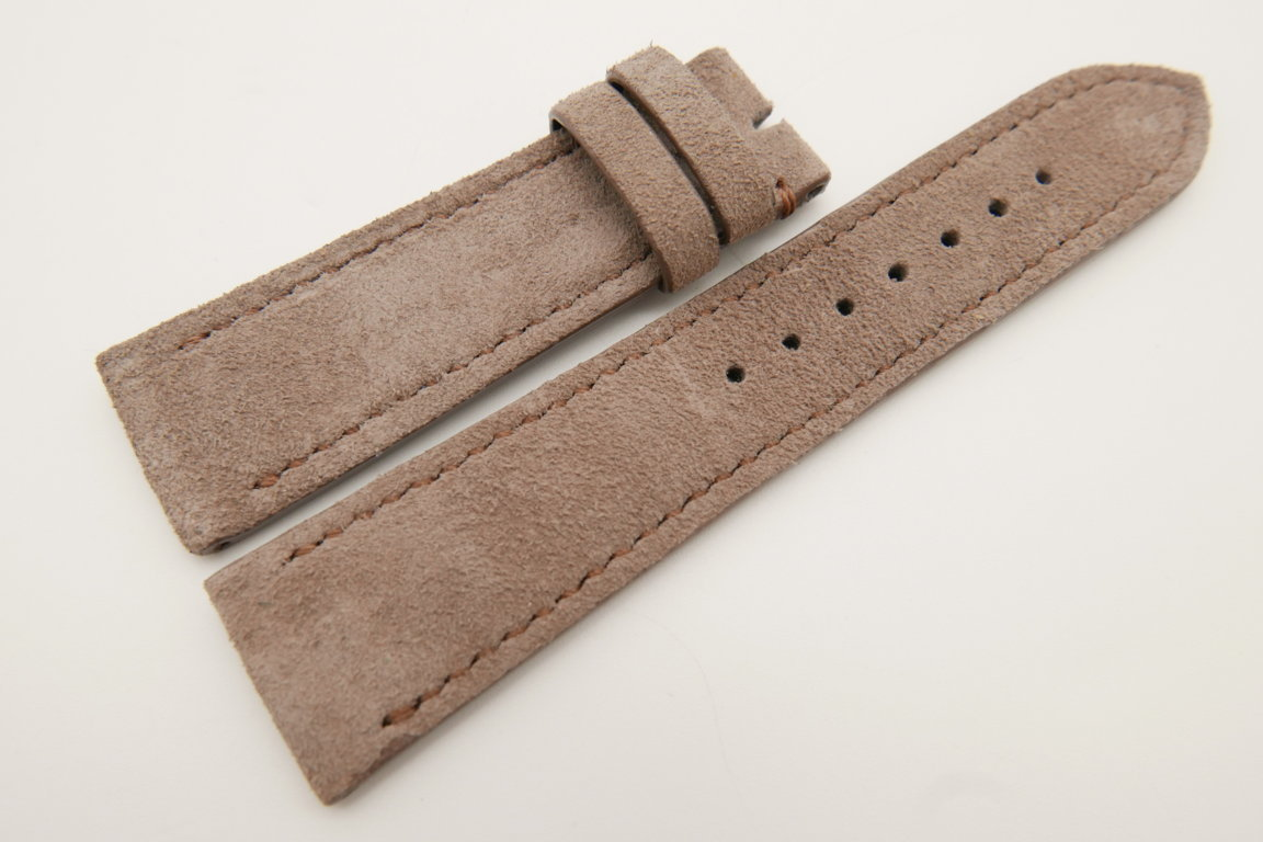 22mm/20mm Taupe Genuine Suede Leather Watch strap #WT3393