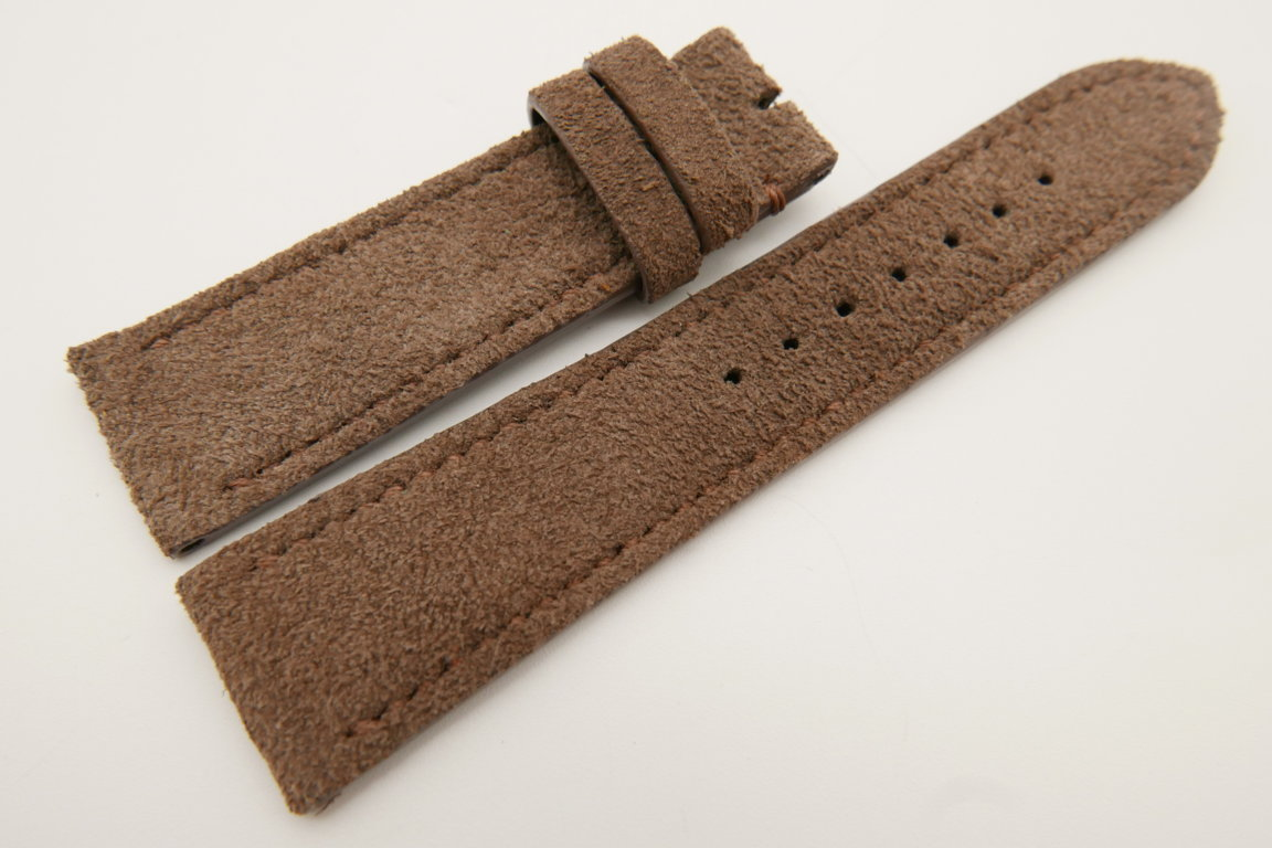22mm/20mm Brown Genuine Suede Leather Watch strap #WT3394