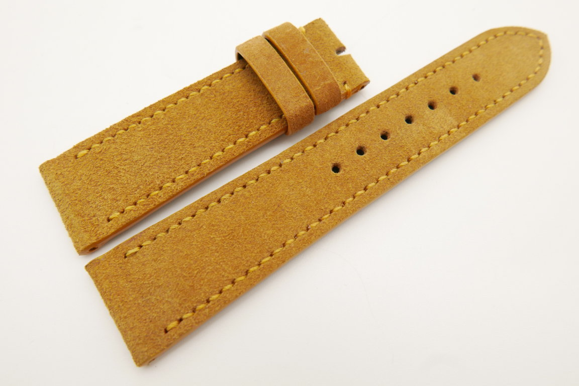 22mm/20mm Tan Brown Genuine Suede Leather Watch strap #WT3395