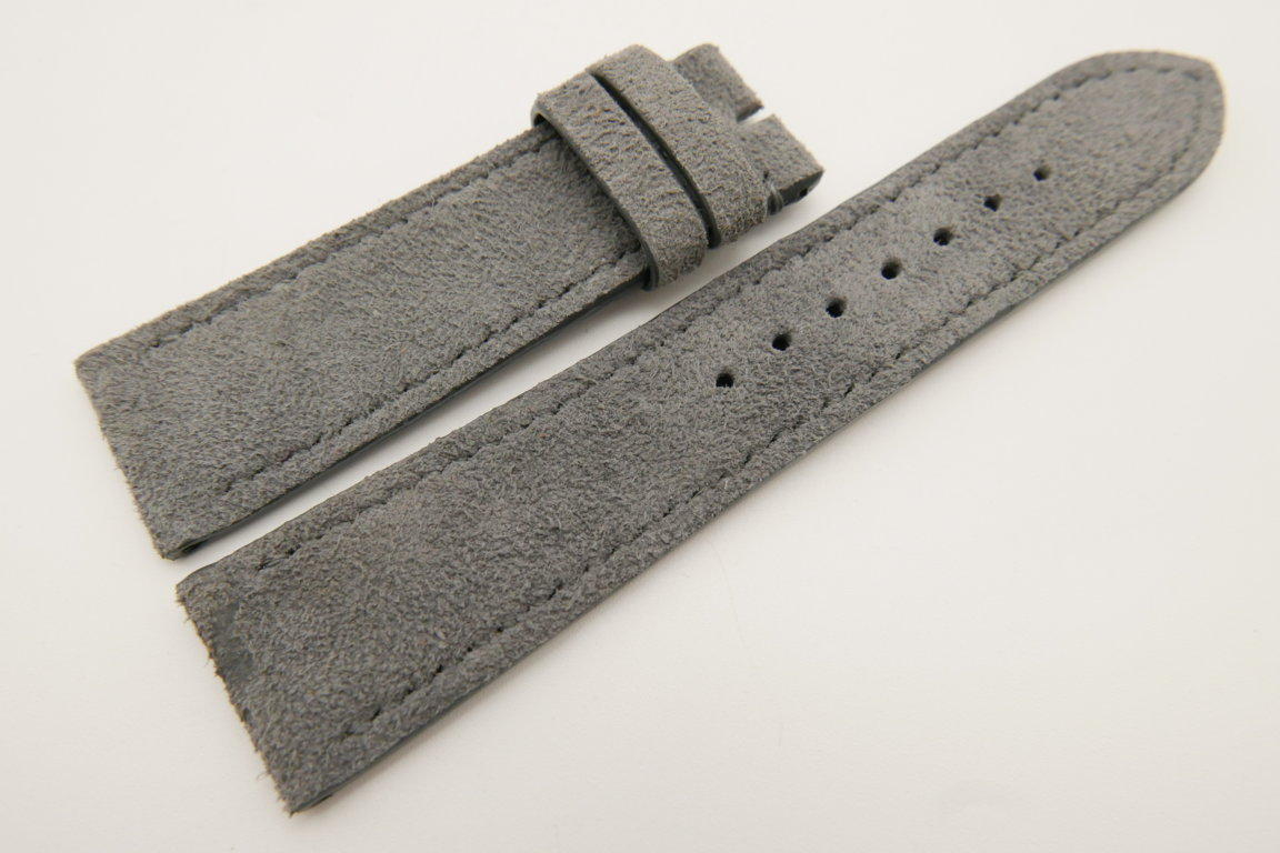 22mm/20mm Gray Genuine Suede Leather Watch strap #WT3396