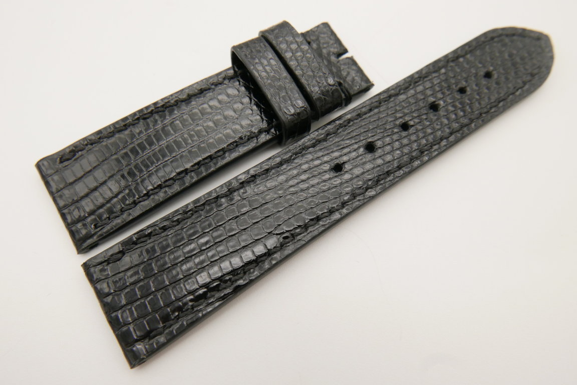 22mm/20mm Black Genuine LIZARD Skin Leather Watch Strap #WT3405