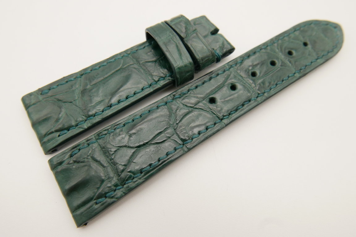 22mm/20mm Green Genuine CROCODILE Skin Leather Watch Strap #WT3417