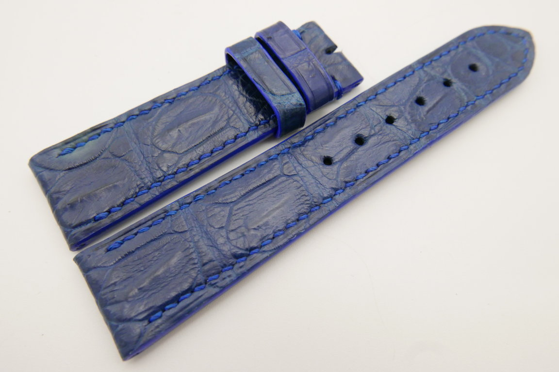 22mm/20mm Navy Blue Genuine CROCODILE Skin Leather Watch Strap #WT3424