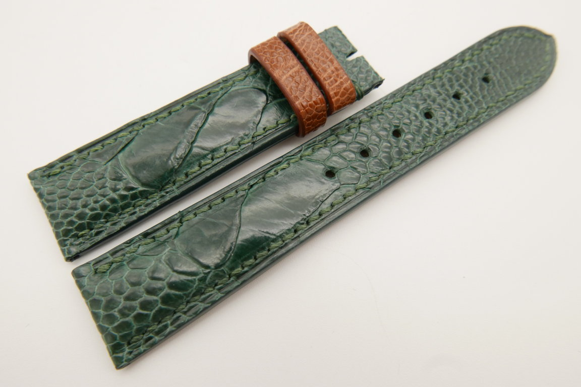 20mm/18mm Green Genuine OSTRICH Skin Leather Watch Strap #WT3449