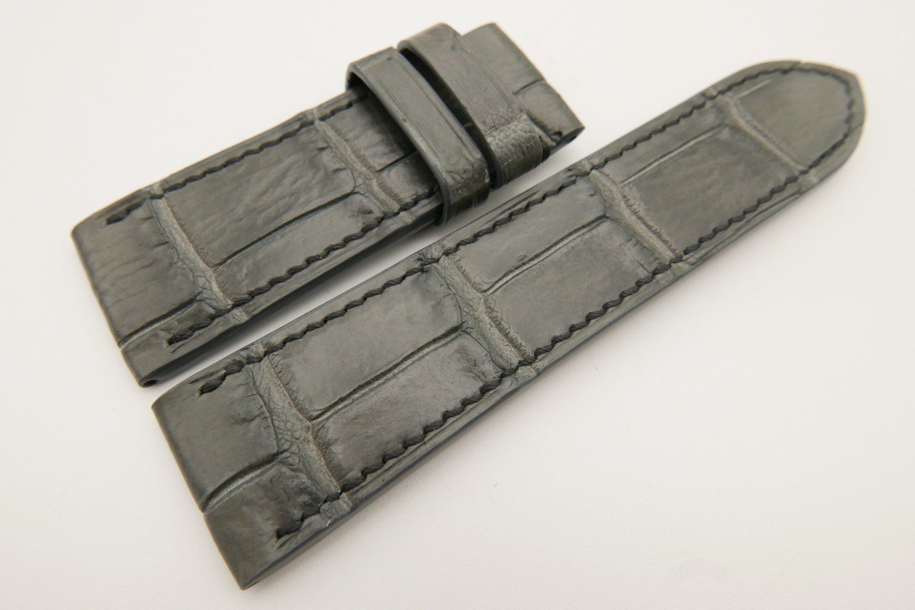 26mm/24mm Gray Genuine CROCODILE Skin Leather Watch Strap For Panerai #WT3454