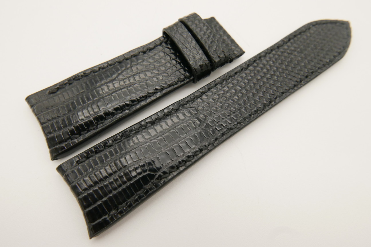 23mm/20mm Black Genuine LIZARD Skin Leather Curved End Watch Strap For JLC #WT3459