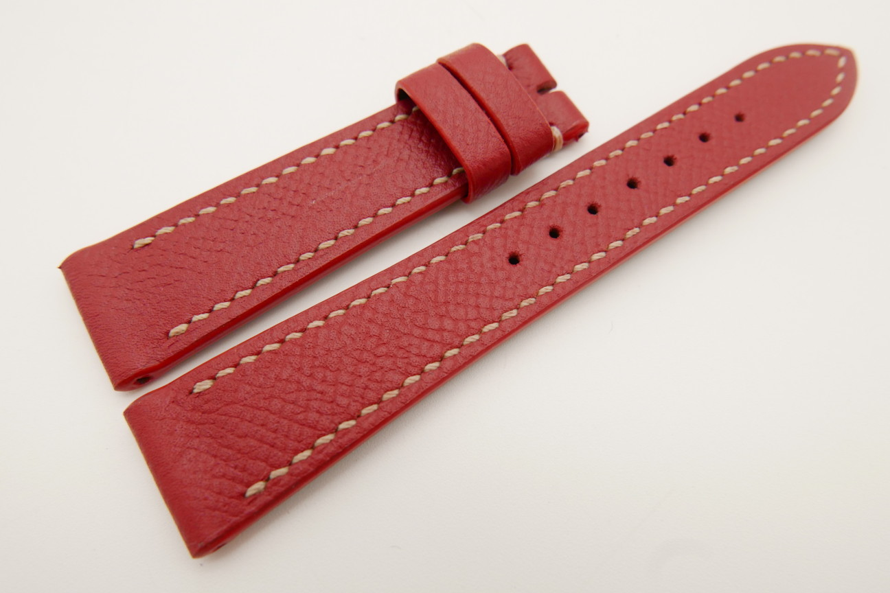 20mm/16mm Red Genuine EPSOM Calf Leather Watch Strap #WT3479