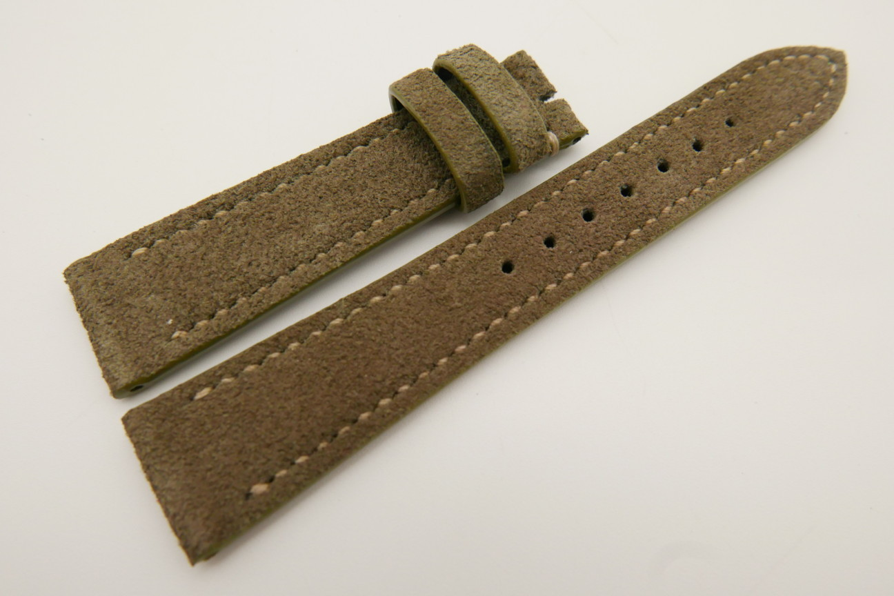 20mm/16mm Moss Green Genuine Suede Leather Watch strap #WT3486
