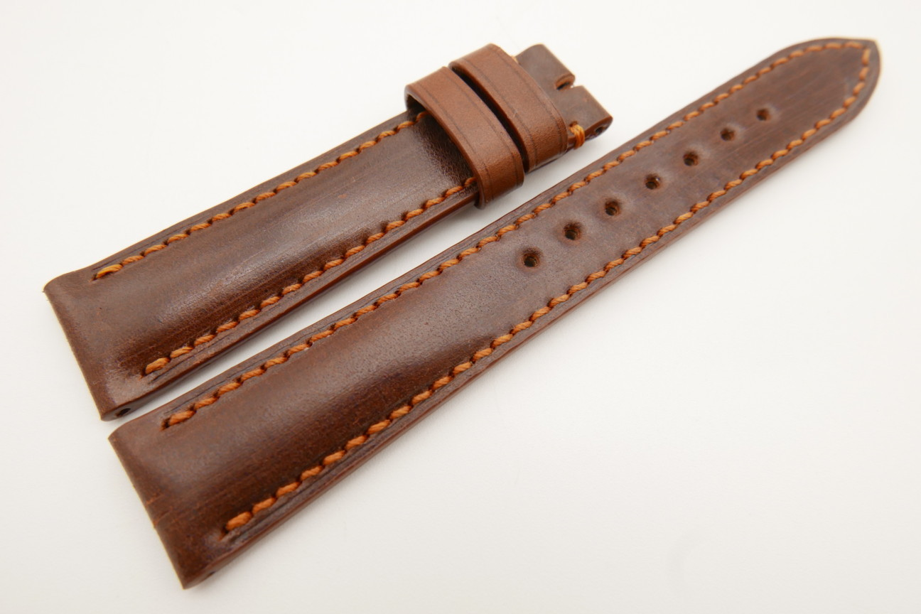 19mm/16mm Red Brown Genuine Shell Cordovan Leather Watch Strap #WT3497