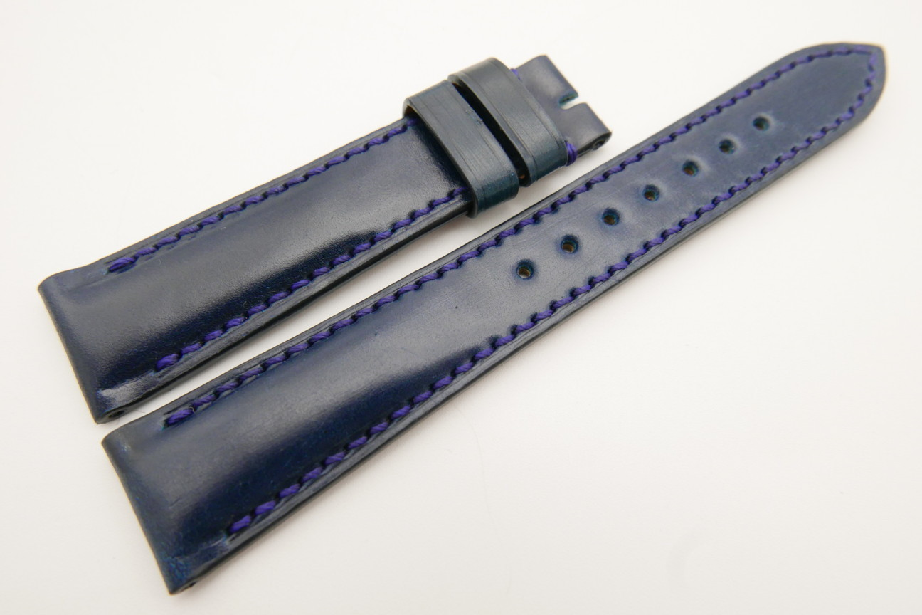 19mm/16mm Navy Blue Genuine Shell Cordovan Leather Watch Strap #WT3499