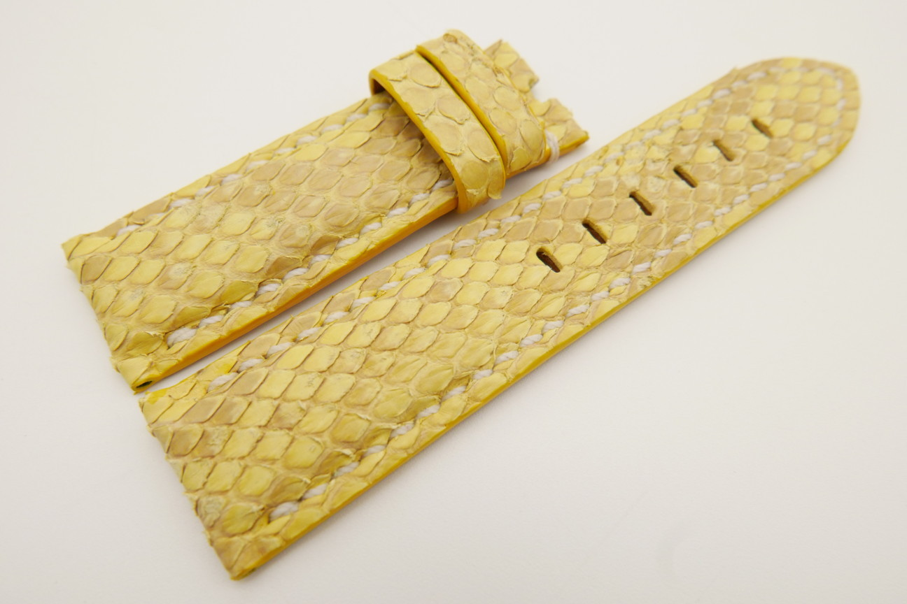 24mm/22mm Yellow Genuine PYTHON Skin Leather Watch Strap for Panerai #WT3513