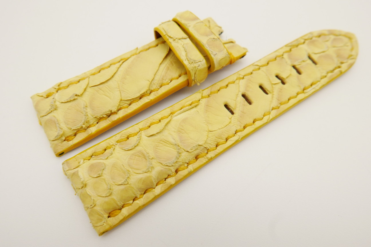 24mm/22mm Yellow Genuine PYTHON Skin Leather Watch Strap for Panerai #WT3514