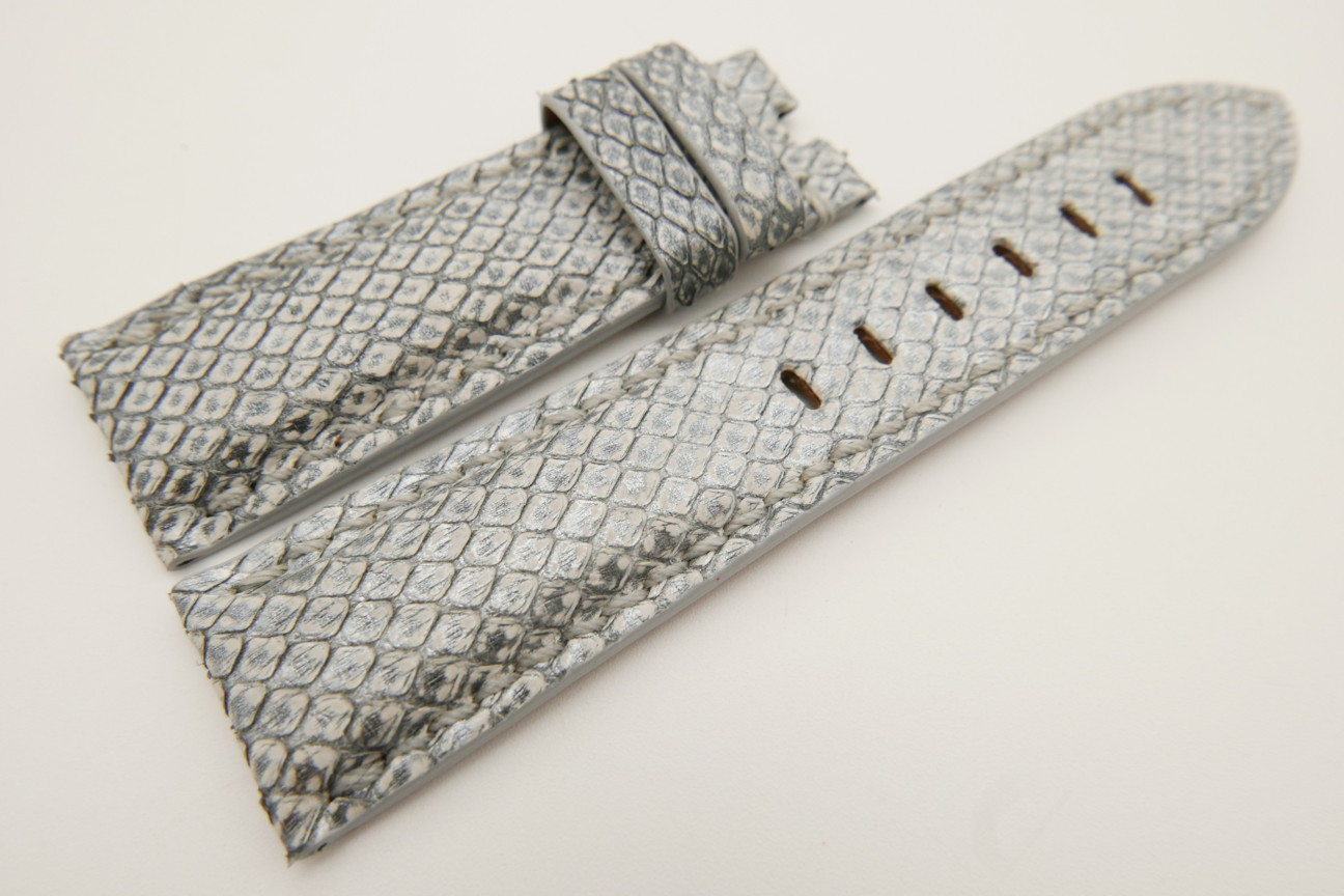 24mm/22mm Silver Genuine PYTHON Skin Leather Watch Strap for Panerai #WT3521
