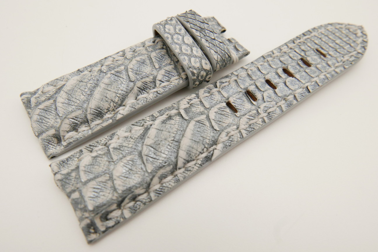 24mm/22mm Silver Genuine PYTHON Skin Leather Watch Strap for Panerai #WT3522