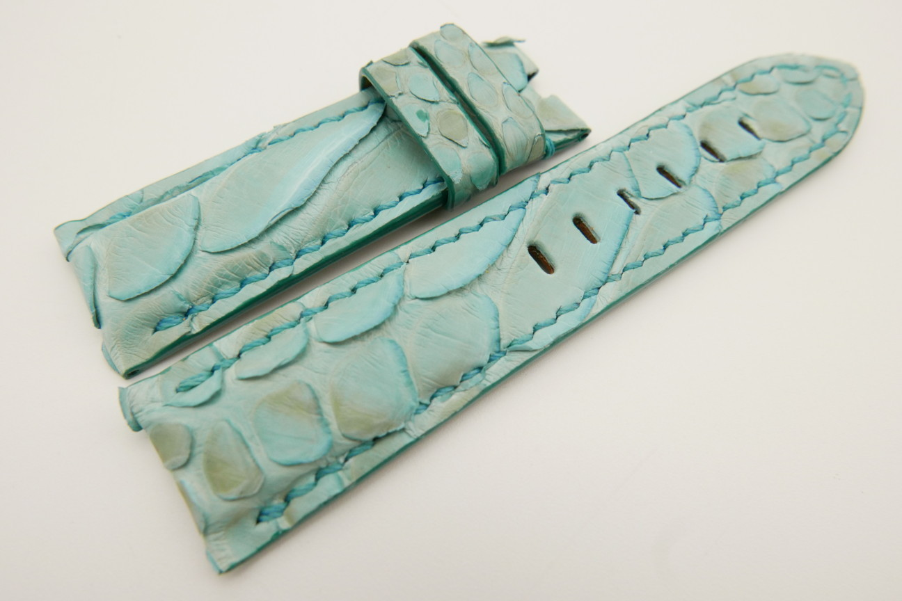 24mm/22mm Baby Blue Genuine PYTHON Skin Leather Watch Strap for Panerai #WT3523