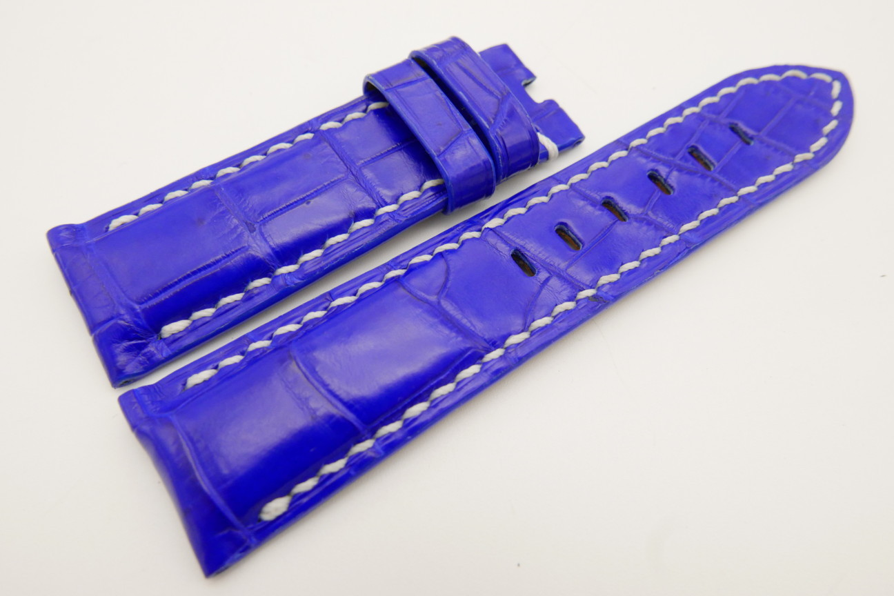 24mm/22mm Cobalt Blue Genuine CROCODILE Skin Leather Watch Strap for Panerai #WT3549