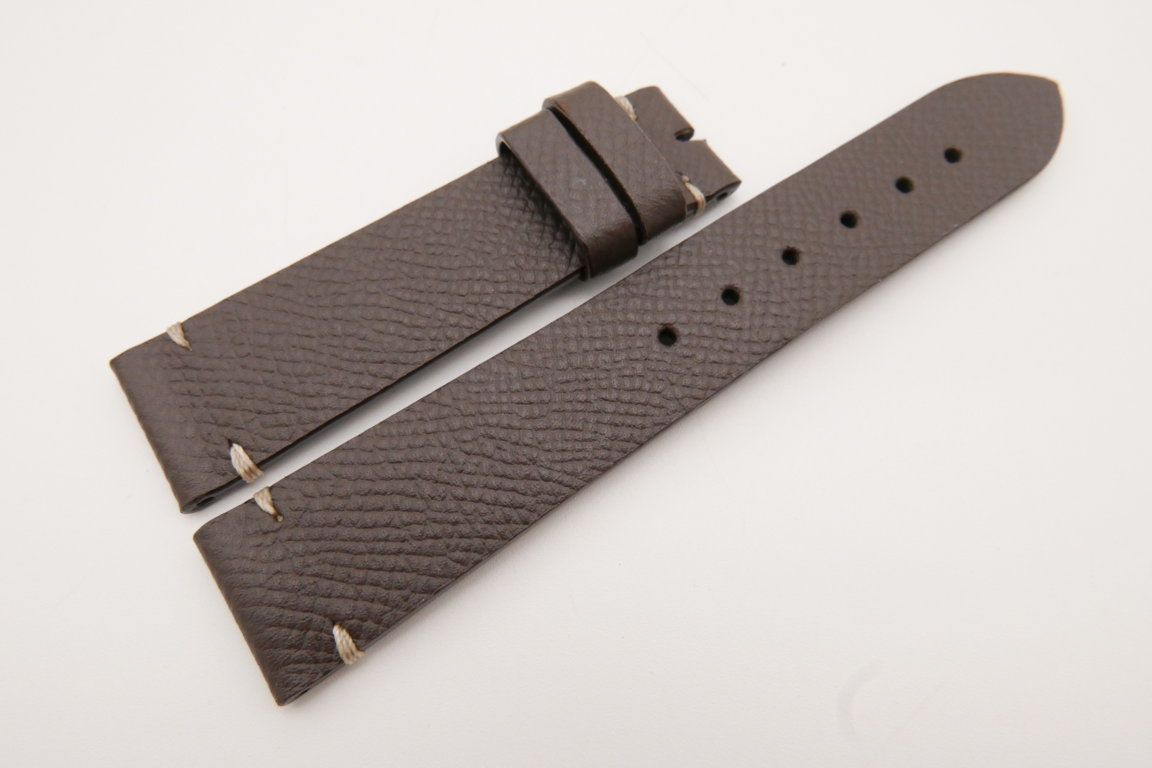 20mm/18mm Brown Genuine EPSOM CALF Skin Leather Watch Strap #WT3556