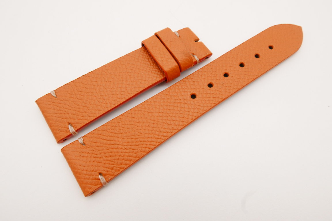 20mm/18mm Orange Genuine EPSOM CALF Skin Leather Watch Strap #WT3560