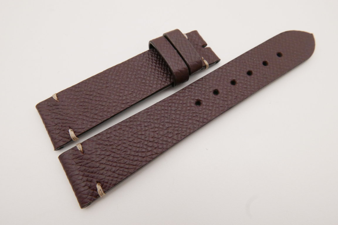 20mm/18mm Red Prune Genuine EPSOM CALF Skin Leather Watch Strap #WT3568