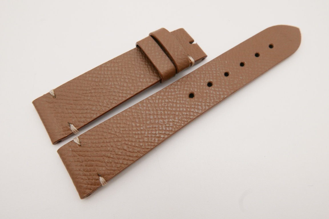 20mm/18mm Brown Genuine EPSOM CALF Skin Leather Watch Strap #WT3569