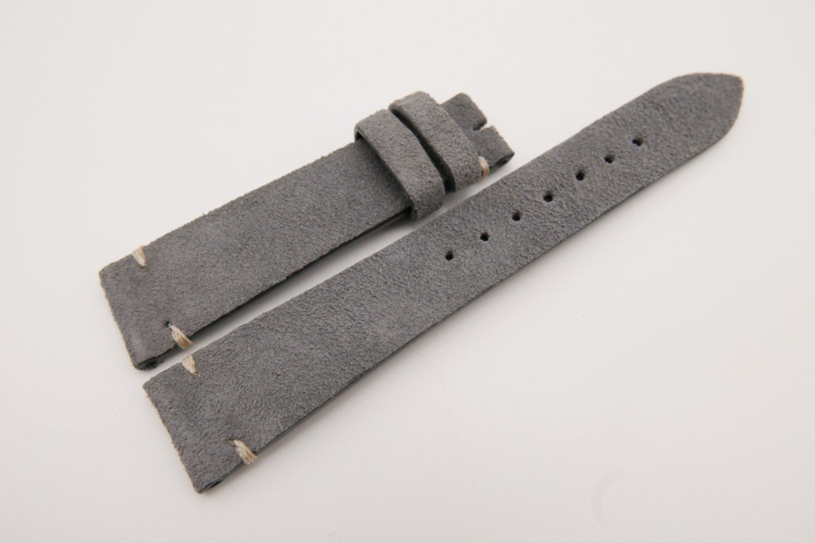 19mm/16mm Gray Genuine Suede Leather Watch strap #WT3614