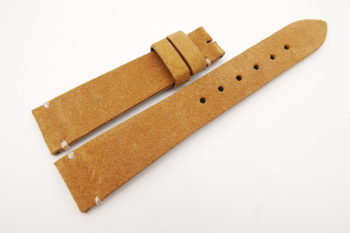 19mm/16mm Tan Brown Genuine Suede Leather Watch strap #WT3615
