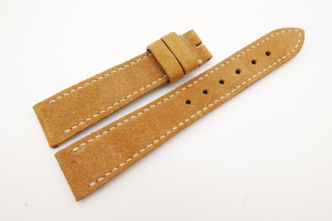 19mm/16mm Tan Brown Genuine Suede Leather Watch strap #WT3616