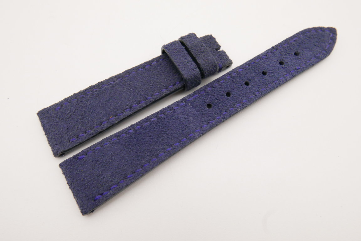 19mm/16mm Dark Blue Genuine Suede Leather Watch strap #WT3620