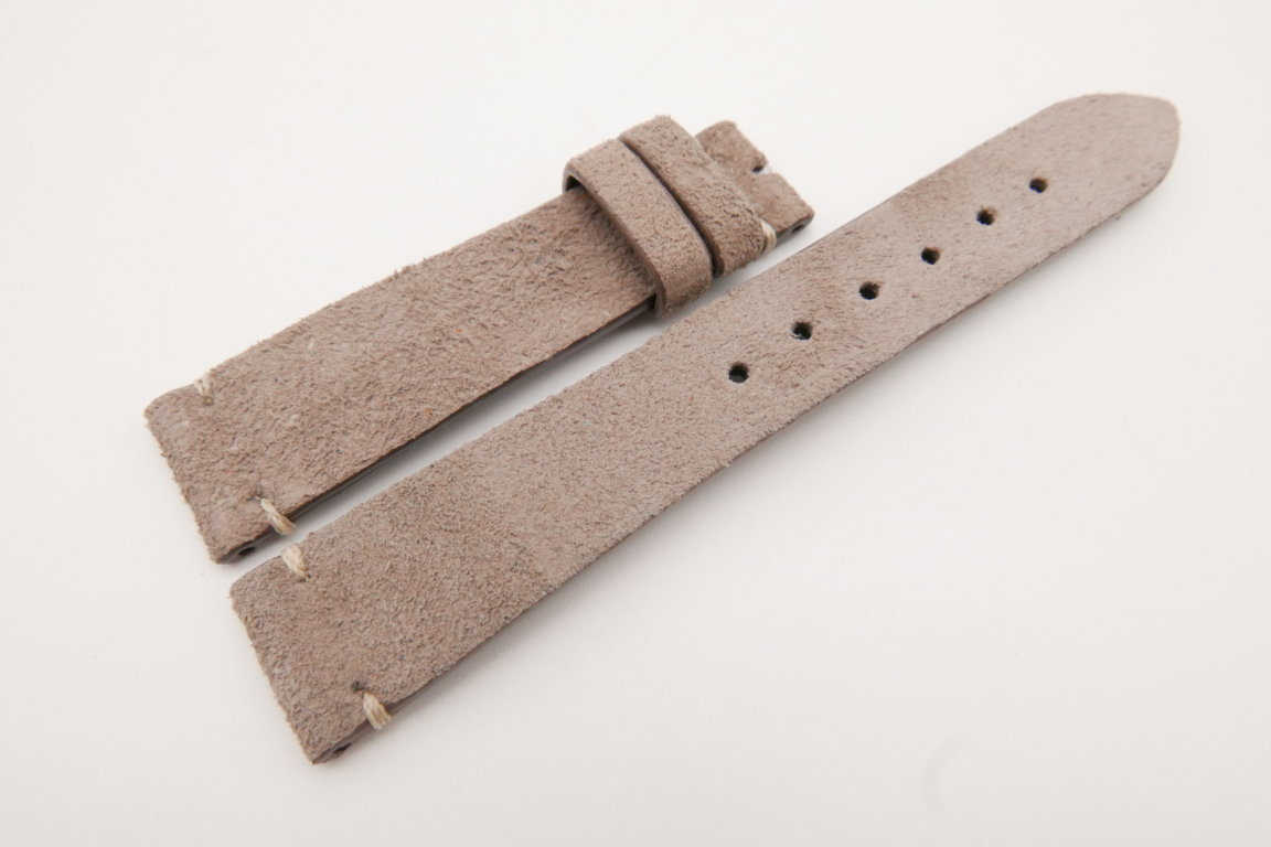 19mm/16mm Taupe Genuine Suede Leather Watch strap #WT3622