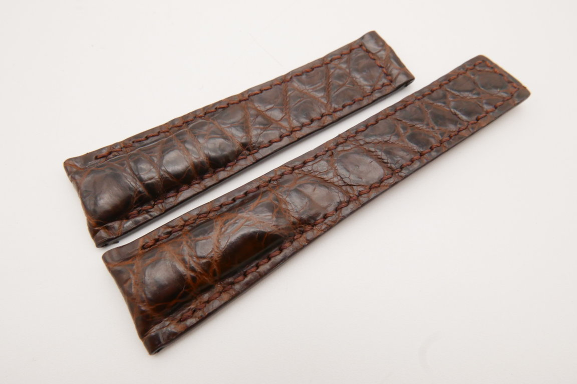 22mm/18mm Dark Brown Genuine CROCODILE Skin Leather Deployment Strap For Tag Heuer #WT3638