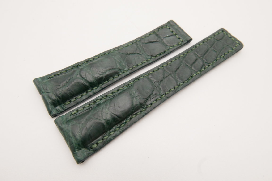 22mm/18mm Dark Green Genuine CROCODILE Skin Leather Deployment Strap For Tag Heuer #WT3644