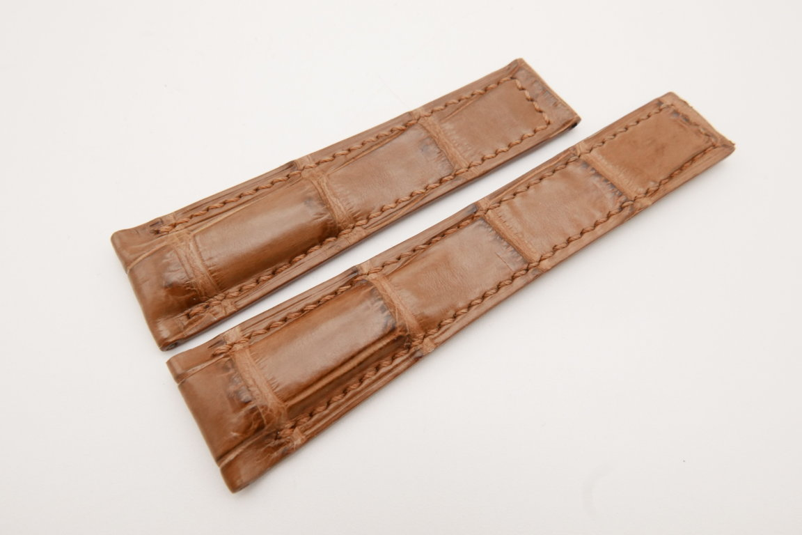 22mm/18mm Light Brown Genuine CROCODILE Skin Leather Deployment Strap For Tag Heuer #WT3647