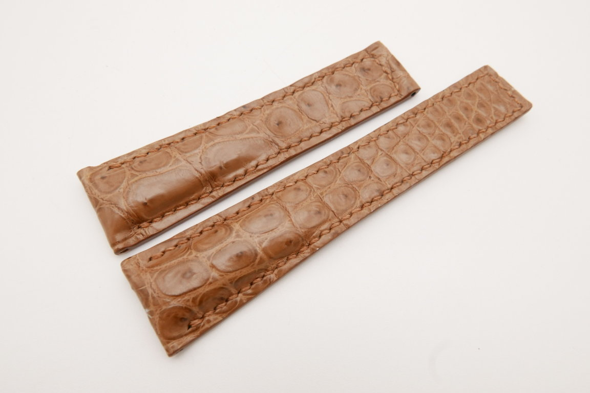 22mm/18mm Light Brown Genuine CROCODILE Skin Leather Deployment Strap For Tag Heuer #WT3648