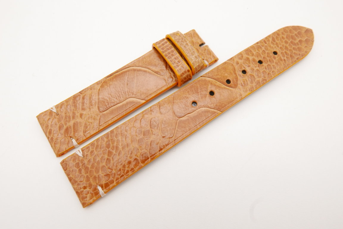 18mm/18mm Tan Brown Genuine OSTRICH Skin Leather Watch Strap #WT3580