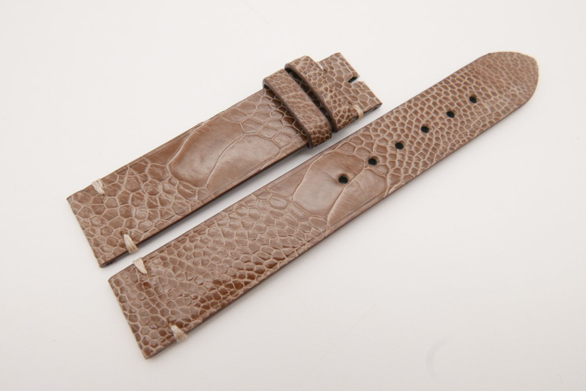 18mm/18mm Light Brown Genuine OSTRICH Skin Leather Watch Strap #WT3582