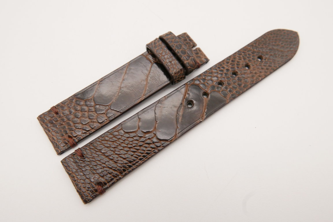 18mm/18mm Dark Brown Genuine OSTRICH Skin Leather Watch Strap #WT3584