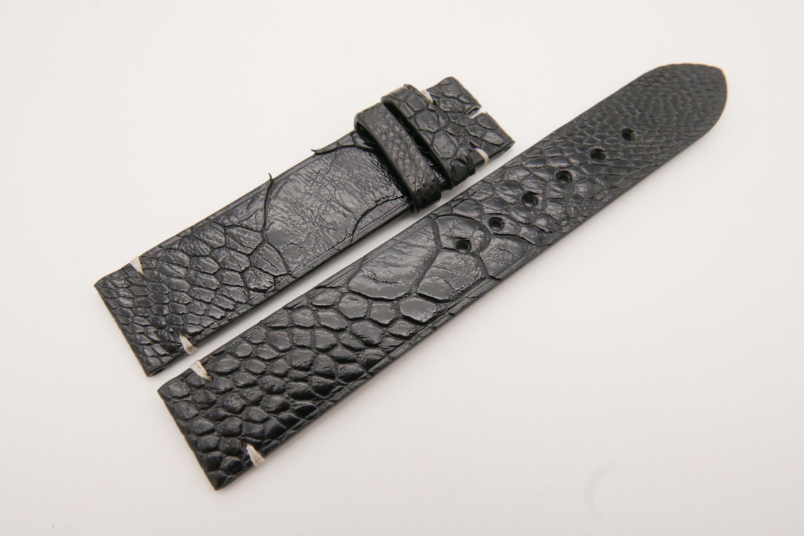 18mm/18mm Black Genuine OSTRICH Skin Leather Watch Strap #WT3587